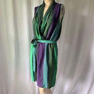 100% Silk Faux Wrap Striped Dress